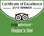 Certifikát výjimečnosti 2015 TripAdvisor Bugsy's Bar